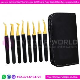 Plasma Coated Gold Tip and Paper Coated Black Tweezers set with box