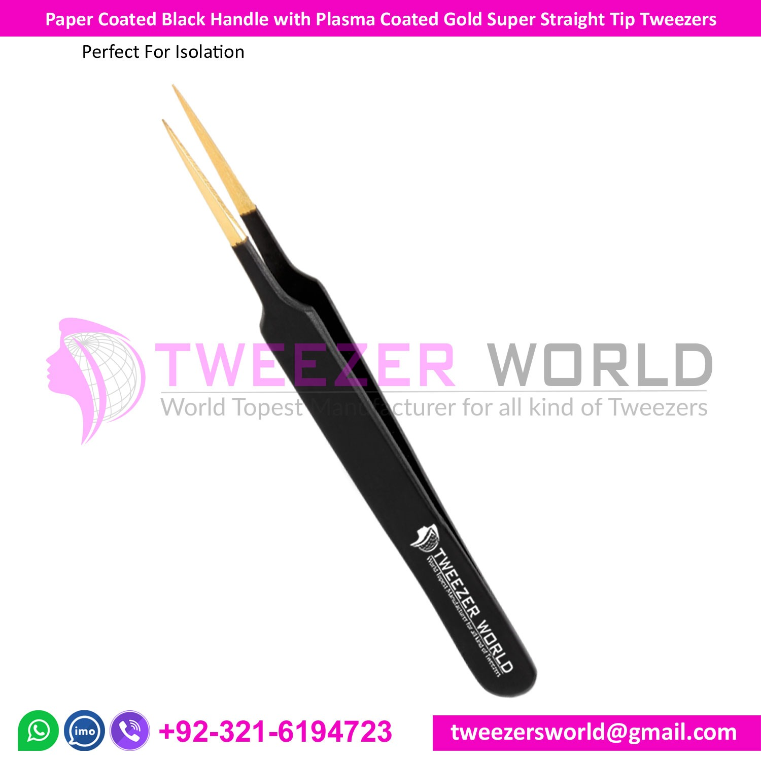 Paper Coated Black Handle with Plasma Coated Gold Super Straight Tip Tweezers