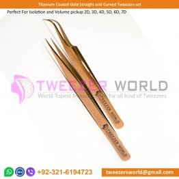 Titanium Coated Gold Straight and Curved Tweezers set