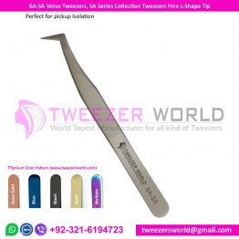 6A-SA Vetus Tweezers, SA Series Collection Tweezers Fine L-Shape Tip