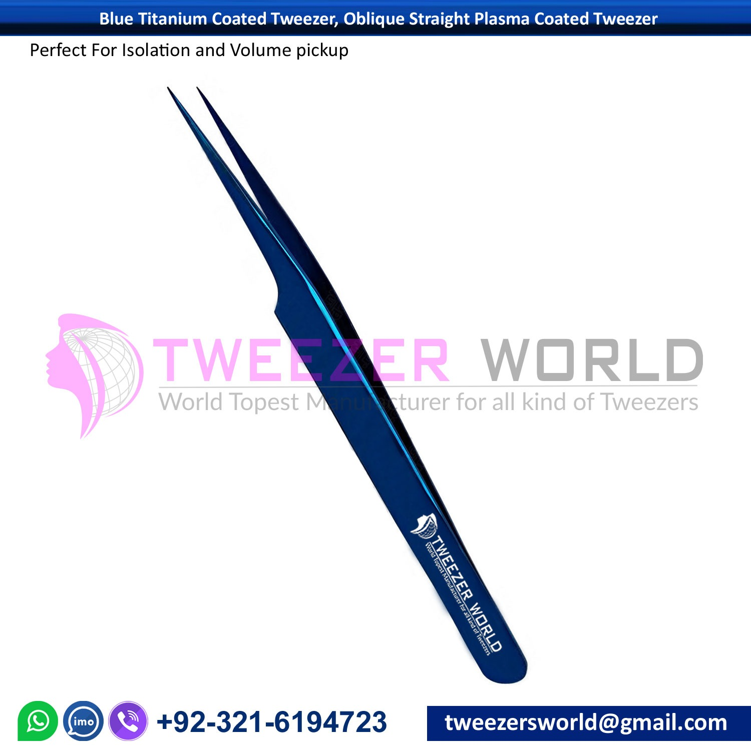 Blue Titanium Coated Tweezer, Oblique Straight Plasma Coated Tweezer