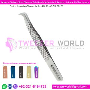 Diamond Grip Tweezers, Volume Lash Tweezers Rounded Tip