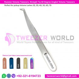 Russian Volume Tweezers, Straight Tip 60 Degree Angled Tweezers