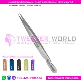 Serrated Handle Professional Eyelash Straight Tweezers with S shape Tail