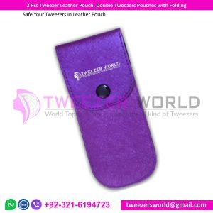 2Pcs Tweezer Leather Pouch, Double Tweezers Pouches with Folding