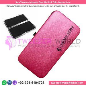 3pcs Tweezers Magnetic Case, Hot Pink Color Magnet Case