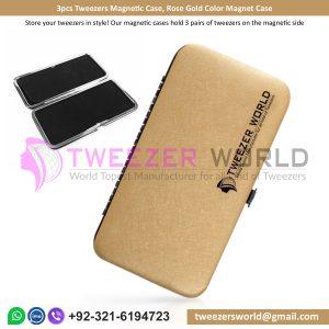 3pcs Tweezers Magnetic Case, Rose Gold Color Magnet Case