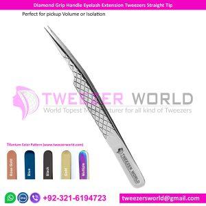 Diamond Grip Handle Eyelash Tweezer Straight Needle Nose Tip