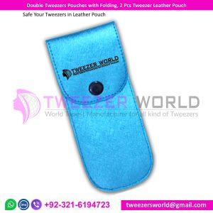 Double Tweezers Pouches with Folding, 2 Pcs Tweezer Leather Pouch