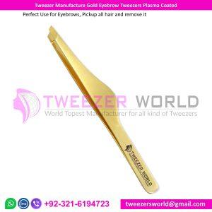 Tweezer Manufacture Gold Eyebrow Tweezers Plasma Coated